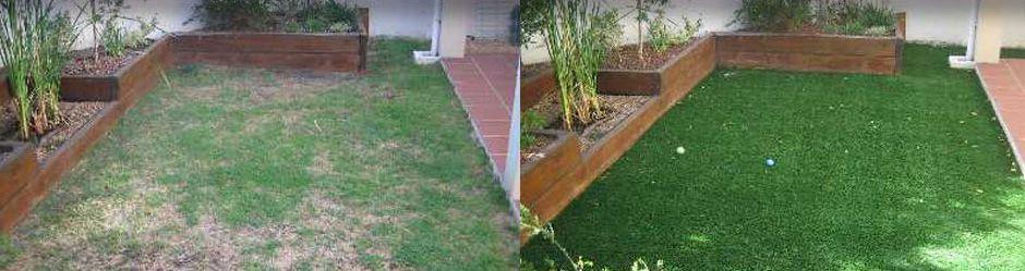 Gazon synthétique avant et après
