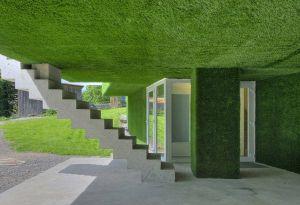 Maison recouverte de pelouse synthétique
