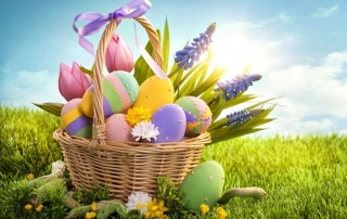 œufs de Pâques et le gazon synthétique